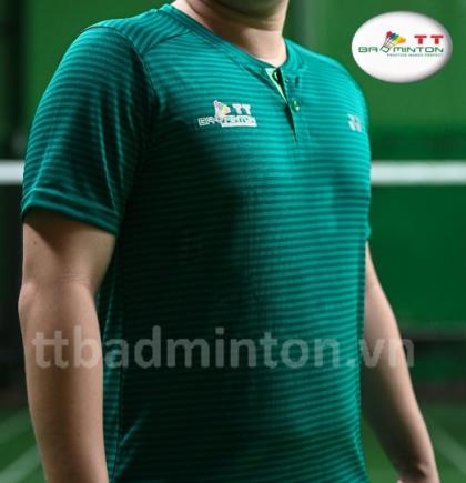 Áo cầu lông TT Badminton xanh rêu sọc ngang - Nam