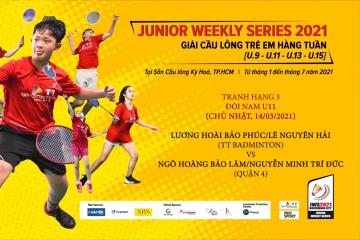 JWS 2021 (14/3) | U11 | BD | 3RD: Bảo Phúc/Nguyên Hải (TT Badminton) vs Bảo Lâm/Trí Đức (Quận 4)