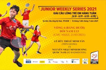 JWS 2021 (21/3) | U13 | BD | R4: Hữu Trí/Minh Tân (Tiền Giang) vs Nhật Minh/Quốc Nam (H3 Badminton)