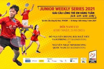 JWS 2021 (21/3) |U13|BD|SF: Hoàng Bách/Nam Phong (TT Badminton) vs Nhật Minh/Quốc Nam (H3 Badminton)