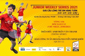 JWS 2021 (25/4) | U13 | BD | 1/16: Đức Anh/Văn Thanh (Thông Sport) vs Tuấn Hoàng/Minh Khôi (Quận 12)