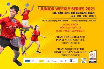 JWS 2021 (25/4) | U13 | XD | RR: Hải Anh/Như Tuệ (Thông Sport) vs Đức Trí/Bảo Nghi (Thông Sport)