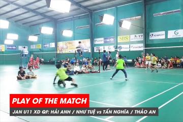 Play of the match | JWS 2021 (Tháng 1) | XD U11 Tứ kết: Hải Anh/Như Tuệ vs Tấn Nghĩa/Thảo An